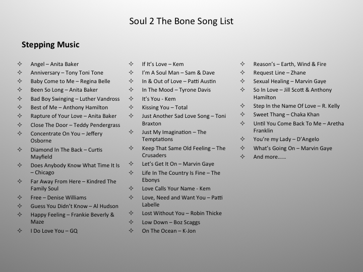 Song List - Welcome to the Soul